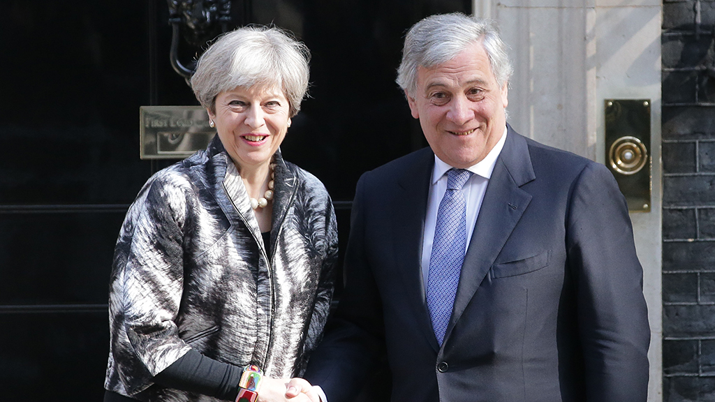 Europa-Parlamentets formand, Tajani, i London.