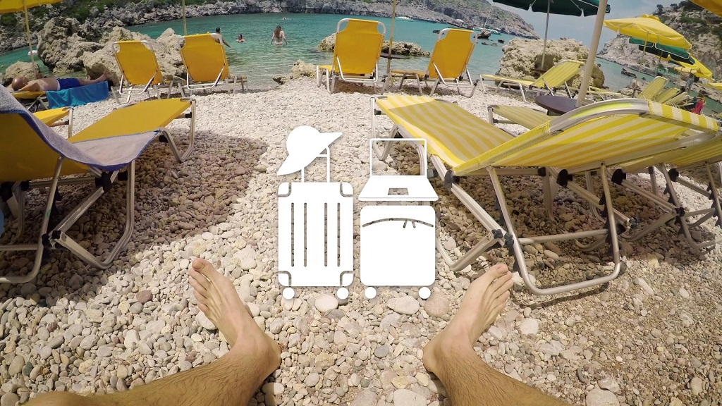 A graphic related to passenger rights, which depicts luggage against the backdrop of a man sitting on a beach beside the sea.