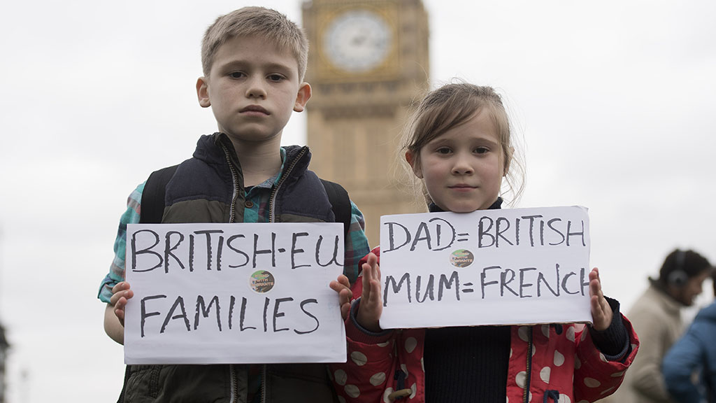 Children at anti Brexit protest