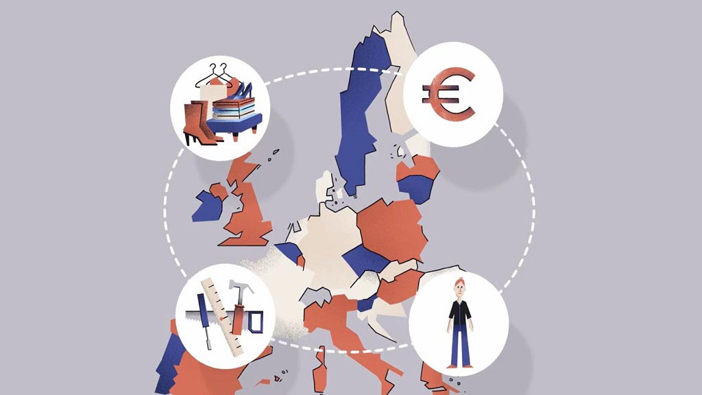 Circle of workers, goods, services and profit above EU map.