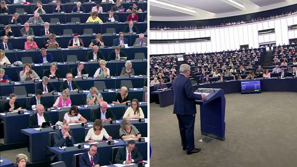 MEPs in the hemicycle on the left, President Juncker on the right